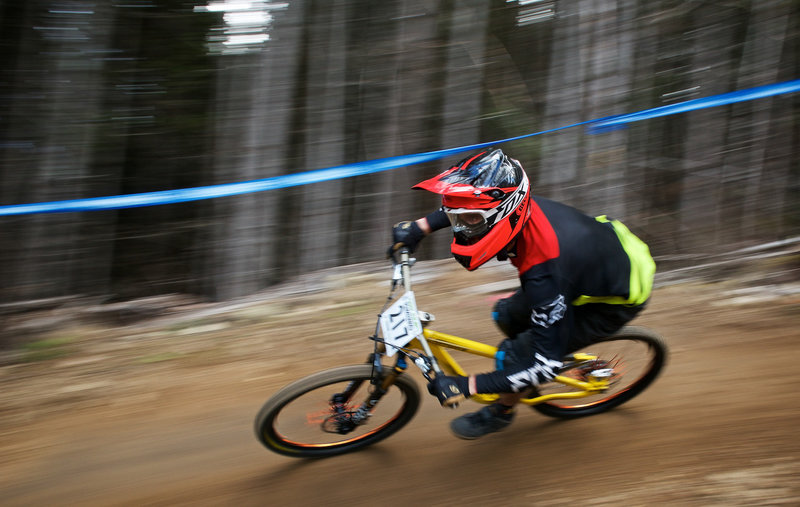 Railing the berms on White Knuckle during the NW Cup.