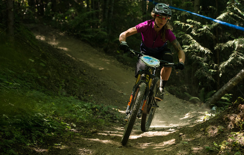 Racing down Double Bypass during the Cascadia National Enduro Championship.