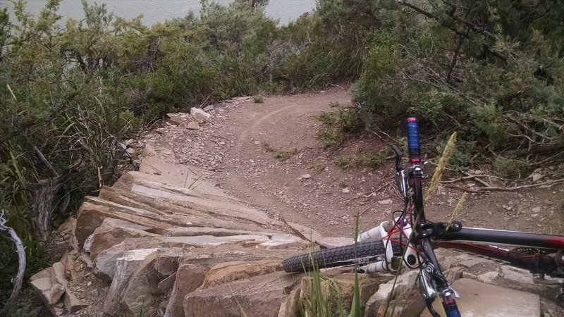 Stacked Sandstone berm at switchback rides great heading upriver.