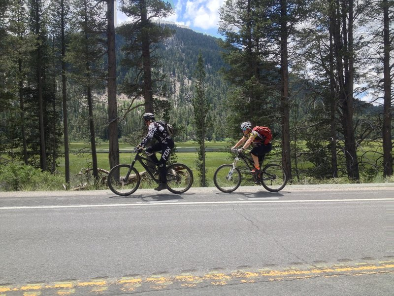 Short and flat section of Hwy 89 by Grassy Lake to connect to Luther Pass Cattle Trail