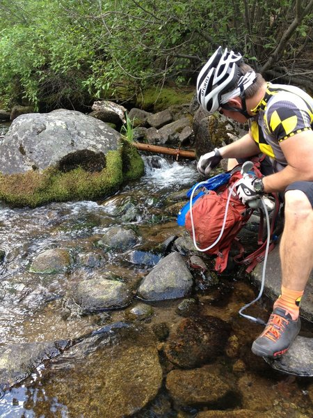 Filtering water from the Upper Truckee River before the next climb and final stretches