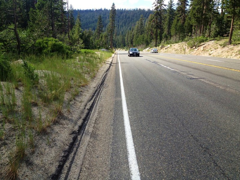 Sketchy shoulder of Hwy 50 (1 mile) since we cannot ride a 1/8 mile of the Pacific Crest Trail. Be CAREFUL!!