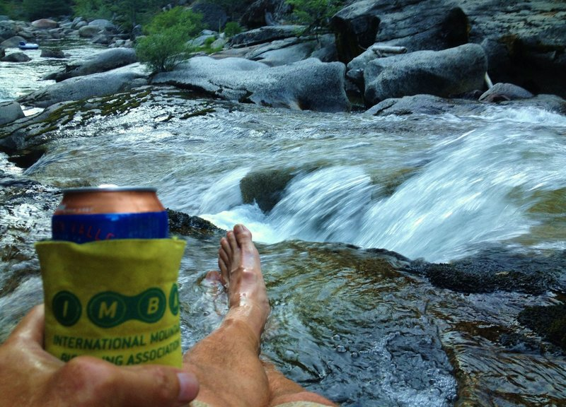 Finish with a soak in the river... with your favorite beverage wrapped in an IMBA coozie :-)