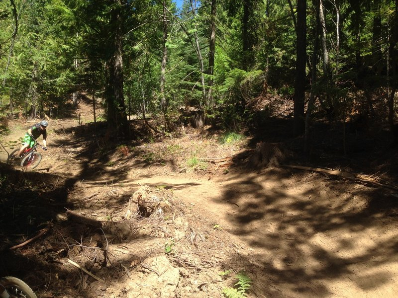Ripping into new switchbacks on Lower Basin DH