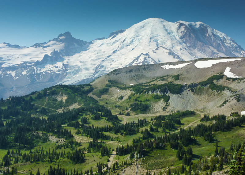 View of Rainier and Liberty Cap above Westside Road