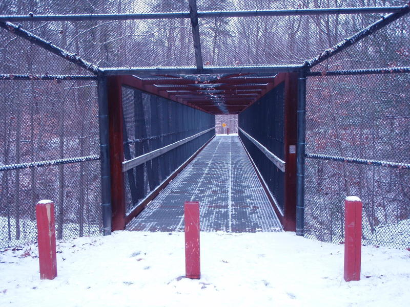 RR Bridge entrance to Accotink Park trails from Carleigh Parkway.