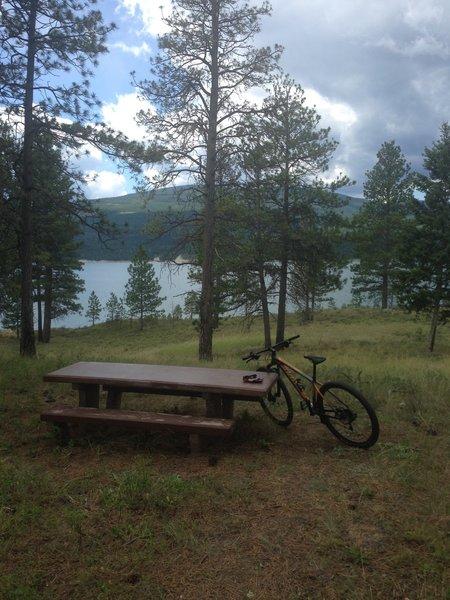 Bench overlooking Lake Koocanusa.
