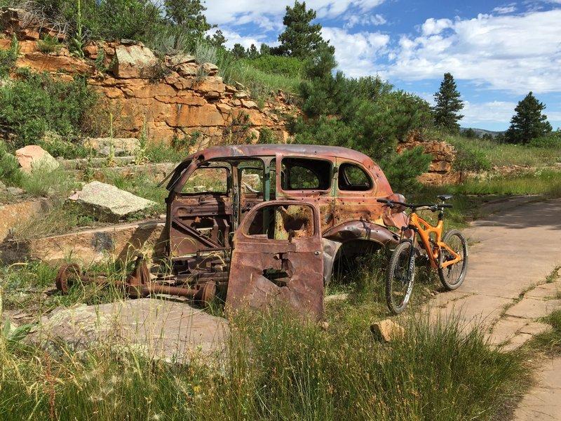 Old car near quarry site