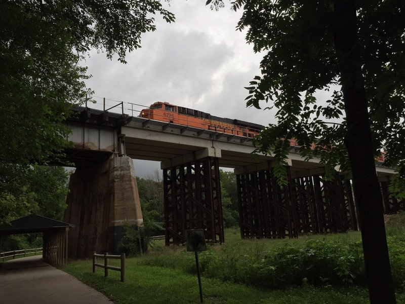 Interesting view of the trains that pass over the trail