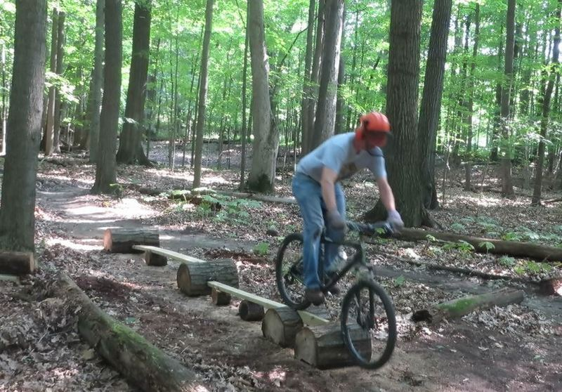 """The builder riding Whiplash, a stunt on Hansen's Be-Bop. This is a good practice line for stunts further along in your ride. 2""""x10"""" entry, drop to long 2""""x6"""", drop to long 2""""x4"""", then onto short on-end 2""""x4"""". Yes, 2"""" wide at the end! This is a beginner/intermediate stunt with little risk involved"""