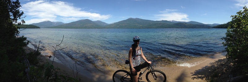 Taking a break on a small, sandy Priest Lake beach.