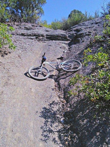Steep shale slope near the bottom