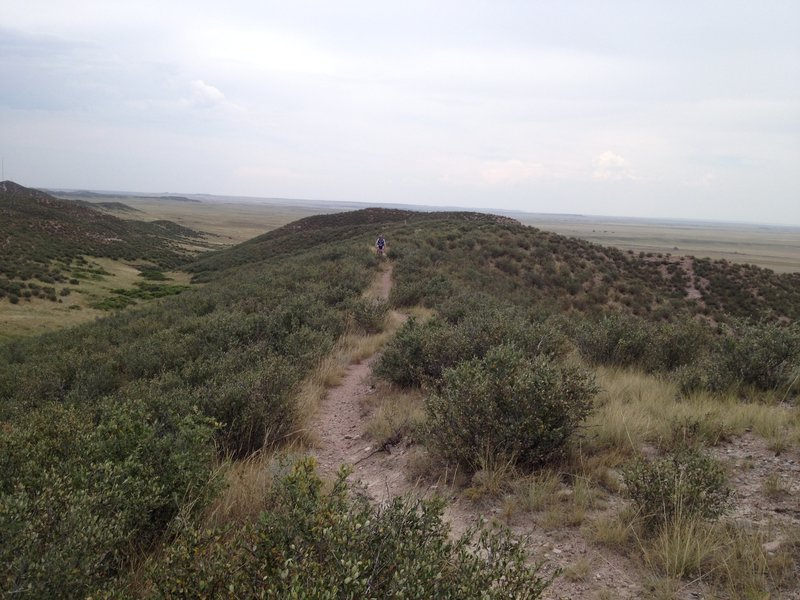 Pretty cool riding right along the ridge line.
