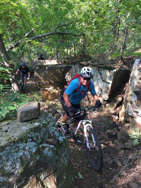 Riding through the boulders!