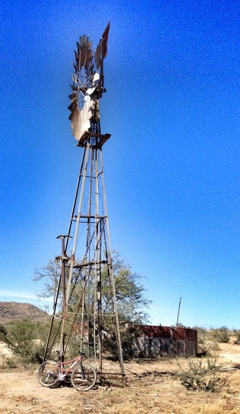The Black Tank and windmill on the Honeybee Canyon Loop.