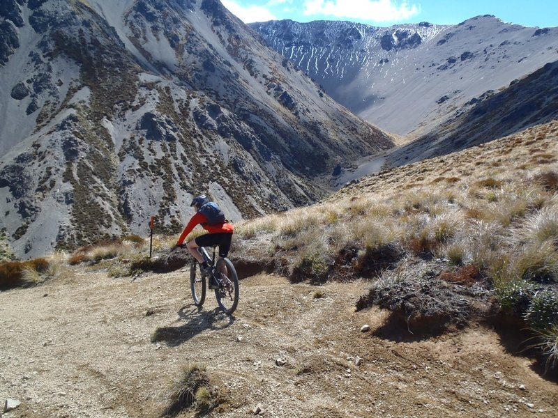 Topping Fowler Pass and starting the descent down the zig-zags into Smyths Stream.