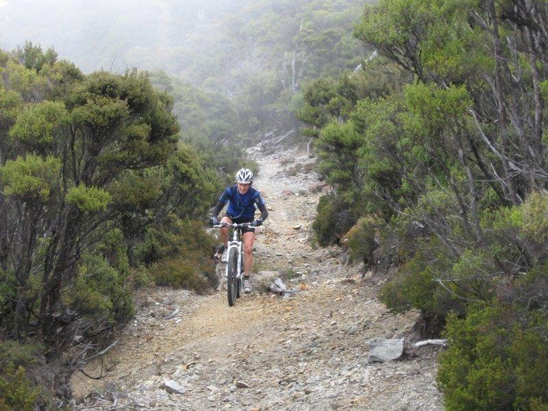Riding back along the ridge