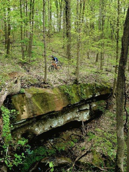 "Climbing ""Stone Bridge"" on the Archer's Fork Loop Trail."