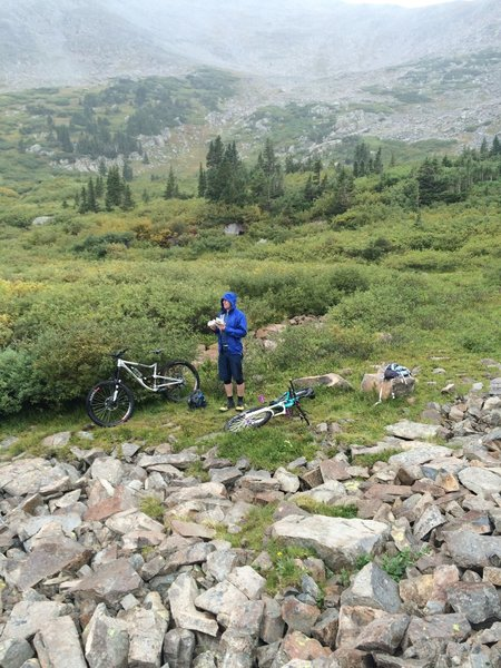 Good spot to stop for lunch and a view of the lakes below. Look for wild columbines and marmots hanging out in the rock fields.