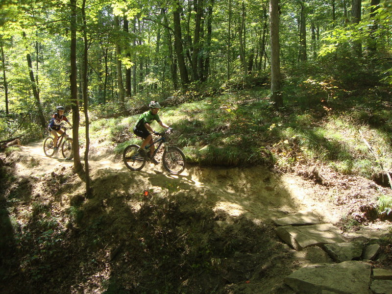Riders will have to make tight turns onto rock armored ravine crossings at Brown County State Park