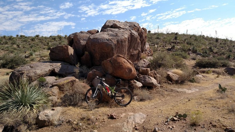 Large namesake boulders making a great resting point on the Boulder Dash Trail