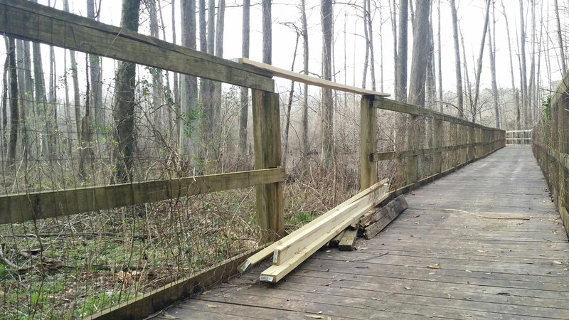 "The ""Boardwalk"" bridge under repair."