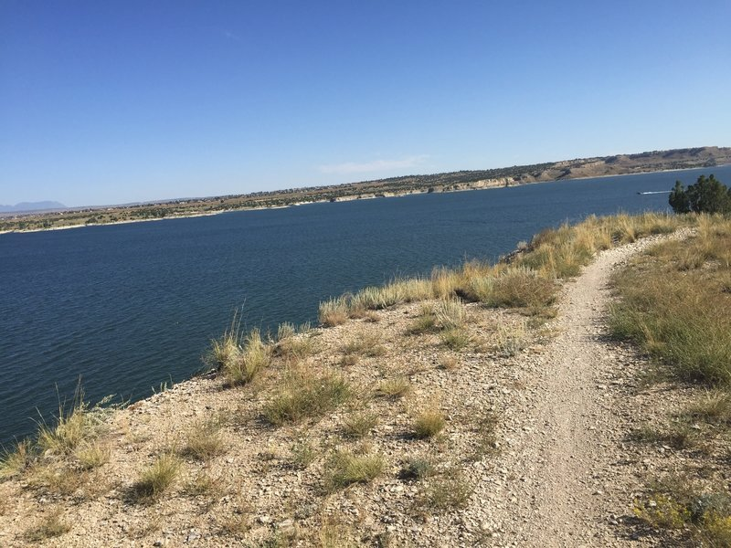 Riding along the Outer Limits trail at Lake Pueblo.
