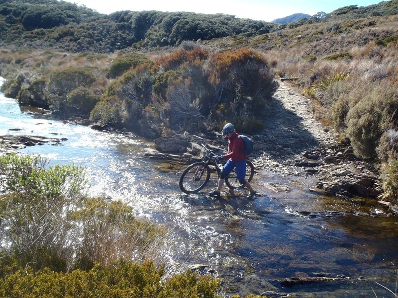 Crossing the headwaters of Big River, Gouland Downs. Much faster than the swingbridge if the river is low.