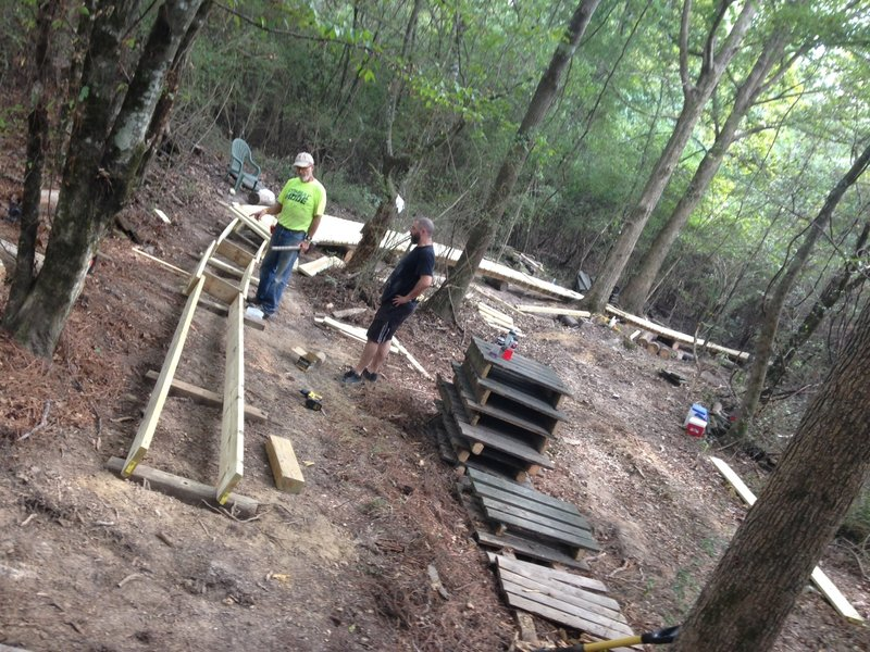 Soggy Bottom getting a completely new bridge.  The trail crew does it again!!! These guys are the best!