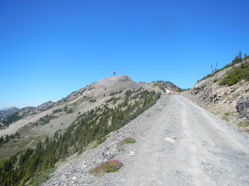Slate Peak in the distance, with its old military observation tower (no legal access). Note the steep pitch of the final climb, which you can see in the distance.