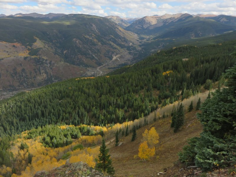 A view worth stopping for! Kristi's ski run, Highway 82, and Independence Pass in the distance.