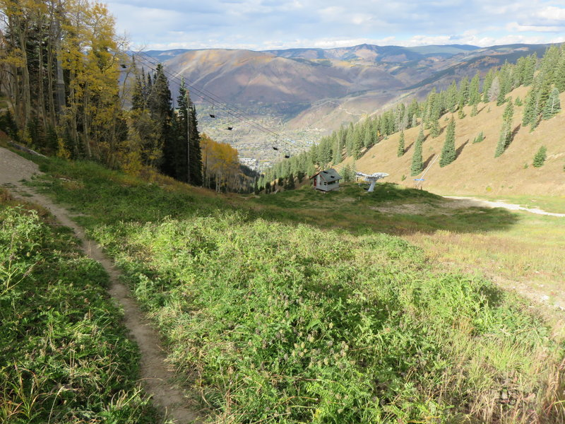 Scotty's Trail, above FIS Chairlift, downtown Aspen below. This is just before the long traverse into the area known as the Dumps during the winter ski season.