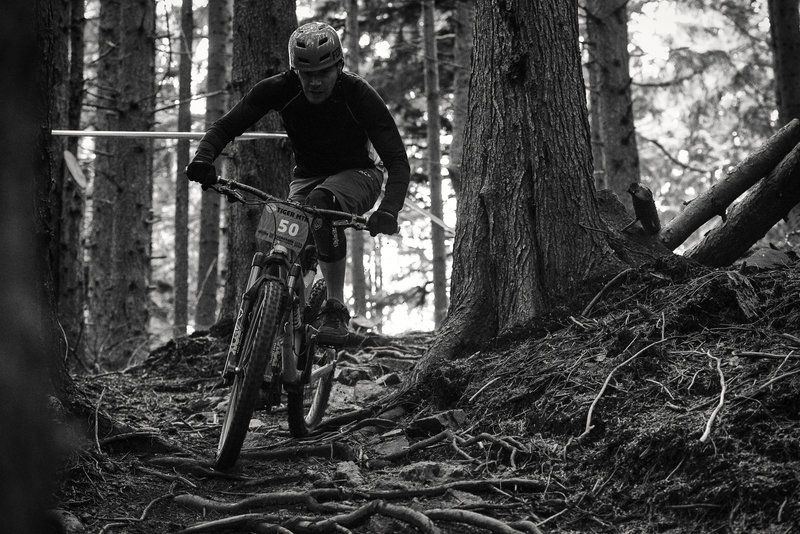 Michael Thompson skims over a carpet of roots on Predator.
