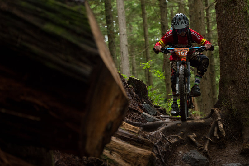 Wet roots adding to the excitement on Off The Grid during the Cascadia Dirt Cup.