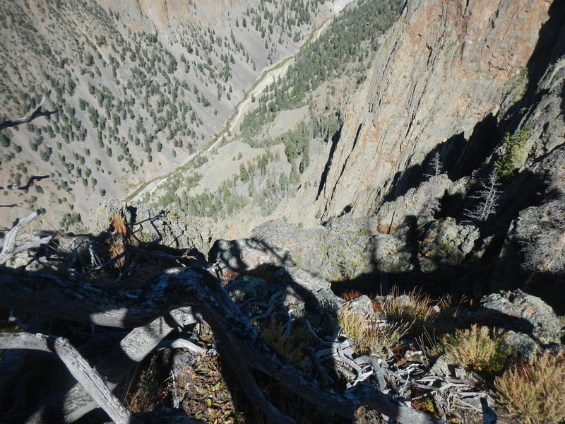 Atop Inspiration Point (11042'), looking straight down almost half a mile to the dirt road in the valley north of Creede. The views from Inspiration Point are... Fantastic.