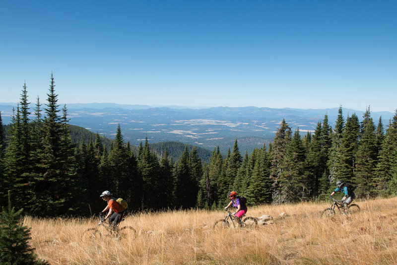 Enjoying the views and a break from the tech on Trail 140 on Mt. Spokane.