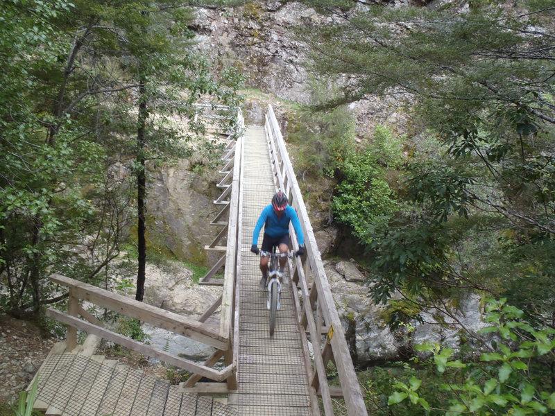 Crossing the Doom Creek gorge.