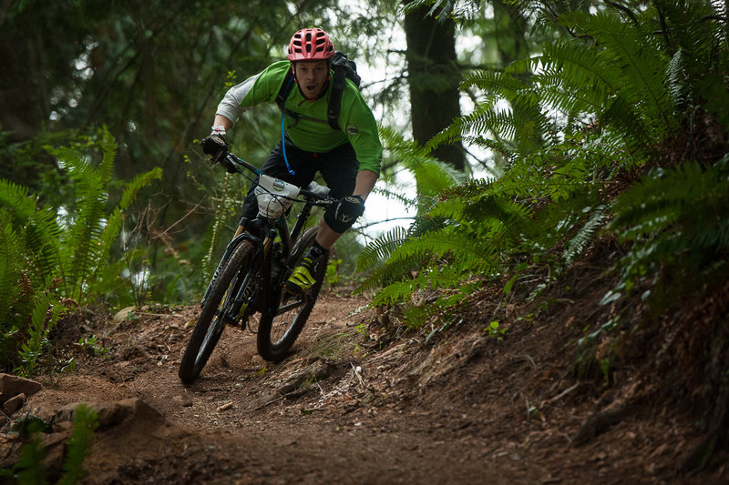 Jed Yesier feeling the speed on Double Diamond during the Enduro of Subdued Excitement.