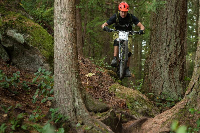 Michael Mcallister threads the high line on the Upper Ridge Trail.