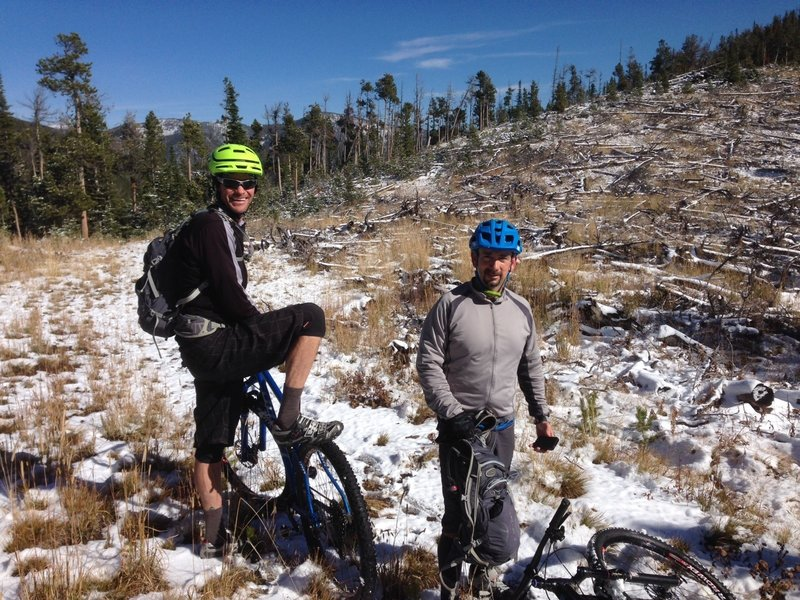 Finished the climb after some fresh snow. We're smiling because a great descent is coming up!!!