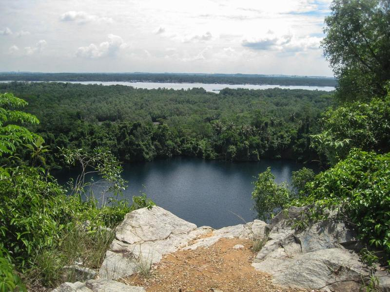 A great view of the quarry from the top of the observation area at the Ketam Mountain Biking Park.