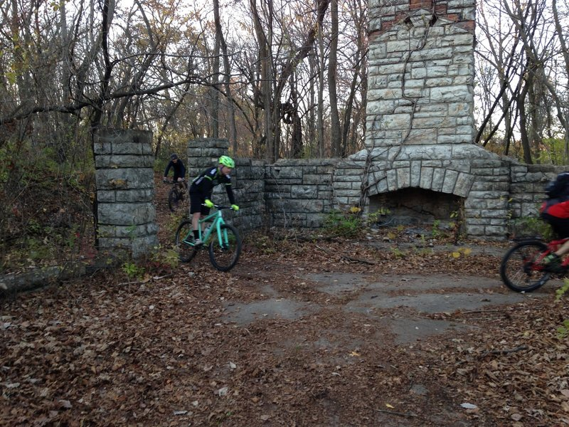"""""""The Chimneys"""" is the largest of the two park structures in the park.  Riders roll down some stone stairs before cutting through the actual structure on the Comeback Trail."""