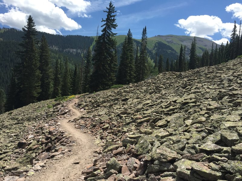 The Prospect Trail winds its way through the talus flow.