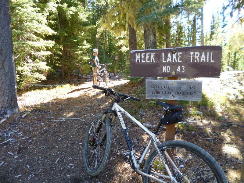 Ready to roll at the Meek Lake Trailhead.
