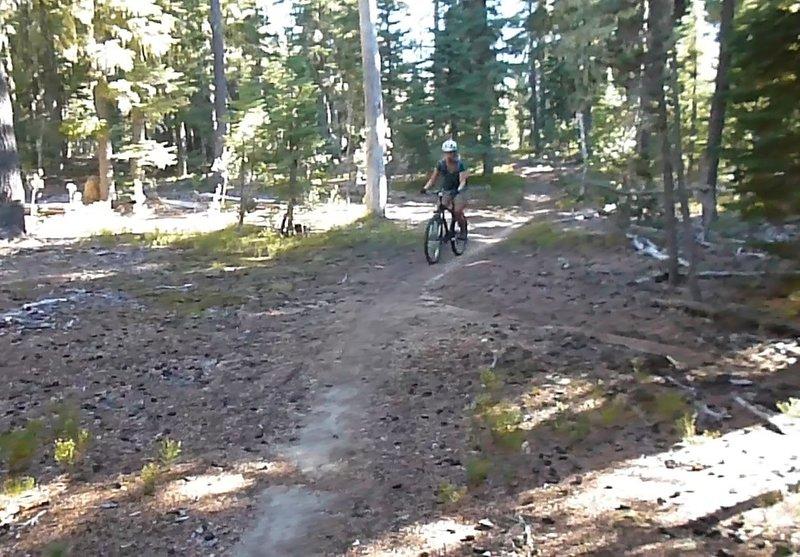 Cruising down Summit Lake trail.