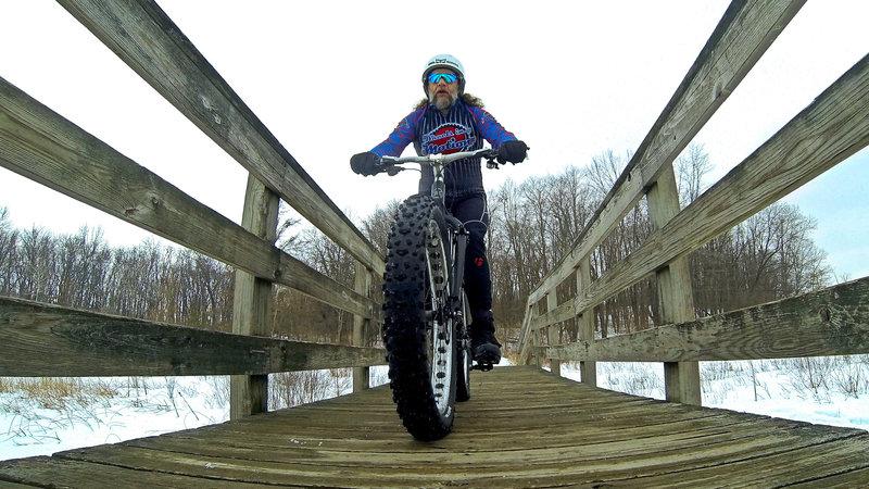 Winter bridge crossing on the Silver Lake Trail.
