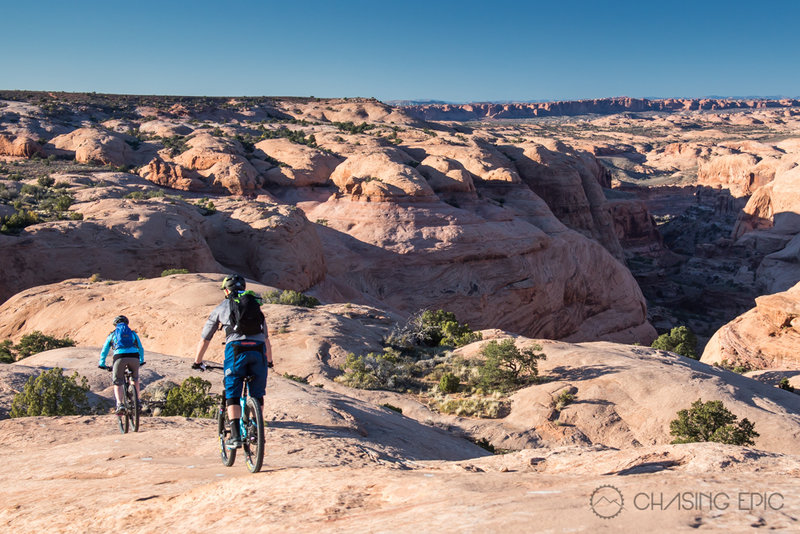 Heading north on Slickrock at sunset on another incredible evening in Moab.