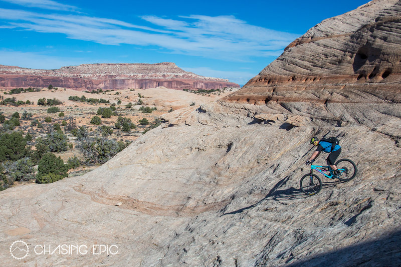 Riding the Slickrock on Navajo Rocks, a great new trail system in Moab.