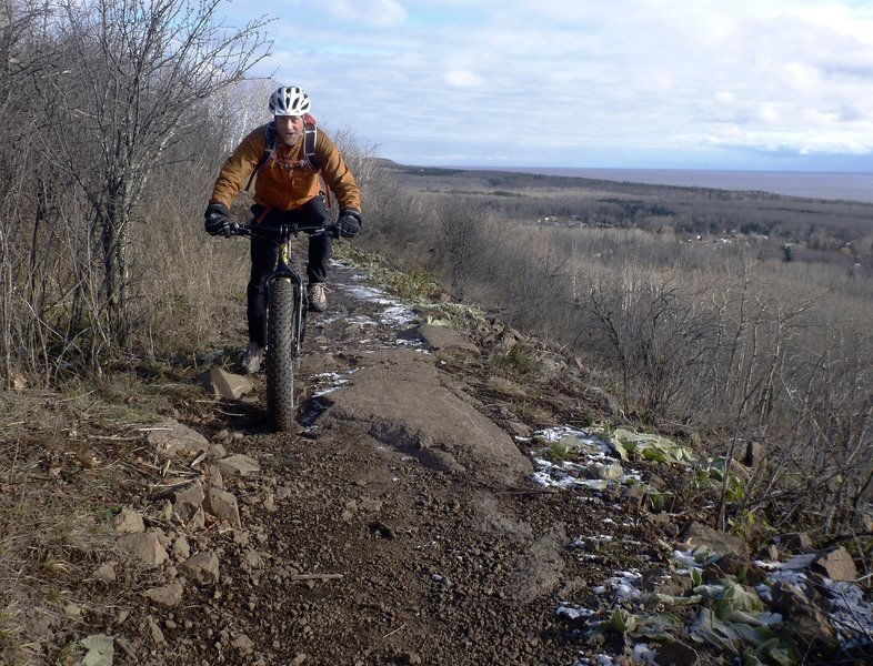 Early winter ride on Hawks Ridge, looking east. Fat bikes help smooth out the chunky rocks a bit.