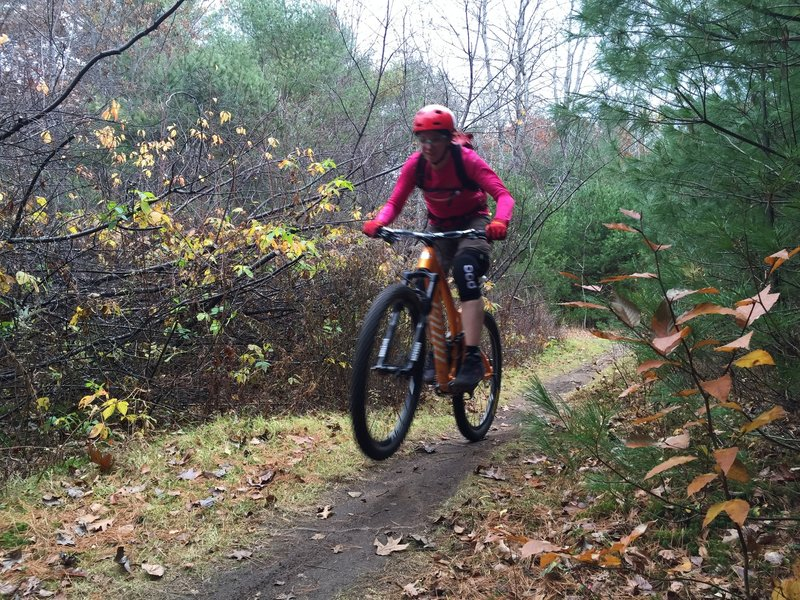 Getting a little air after a great ride on the Brook Trail.